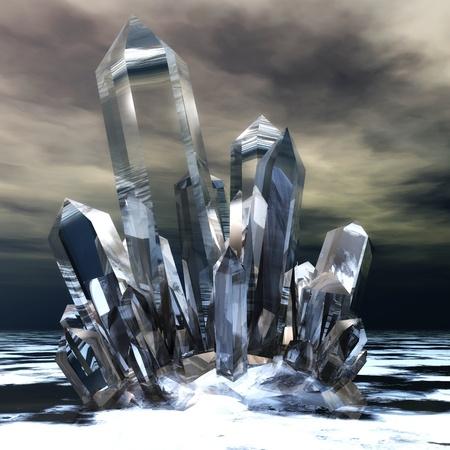 Digitale Illustratie van heldere kristallen