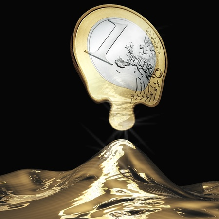 Digital Illustration of a melting Euro illustration