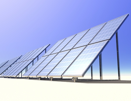 solarpower: digital visualization of solar collectors Stock Photo