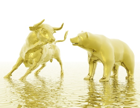 황소와 곰의 디지털 시각화 스톡 콘텐츠