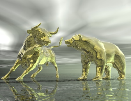 digital visualization of bull and  bear photo