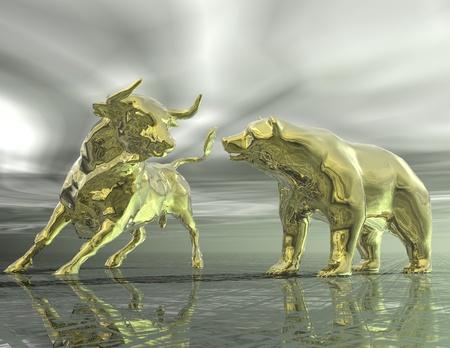 toro: visualizzazione digitale di toro e orso