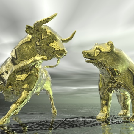 bearish market: digital visualization of bull and  bear