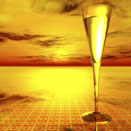 Digital Illustration of a Glass of Champagne illustration