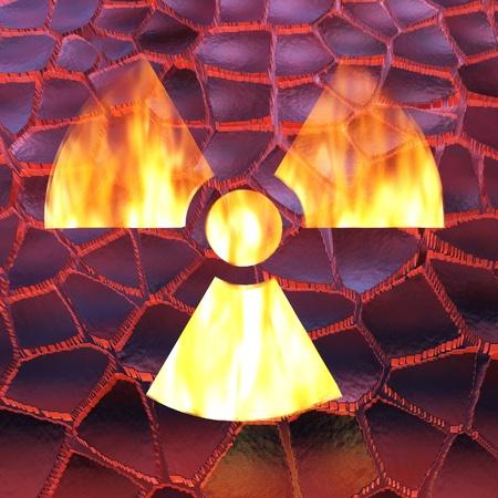 radioactivity: Digital Illustration of a Radioactivity Sign Stock Photo