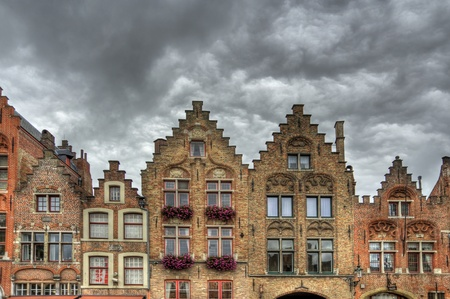 gabled: buildings in the old town of bruges, belgium  hdr