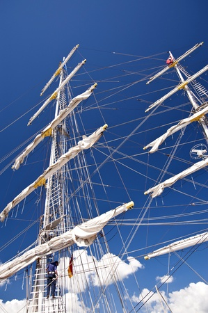 abseil: Sailing Ship in Port of Kiel Editorial