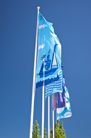 kiel: Flags of the Kiel Week Stock Photo