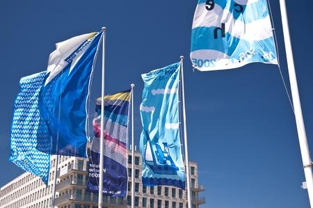 kiel: Flags of the Kiel Week Stock Photo