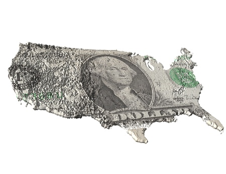 dollarbill: digital visualization of the usa with dollar texture