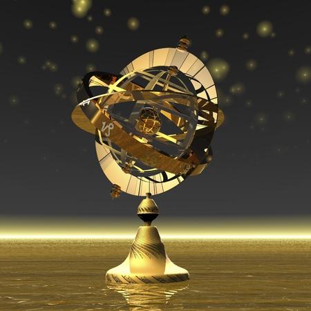 digital visualization of an armillary sphere