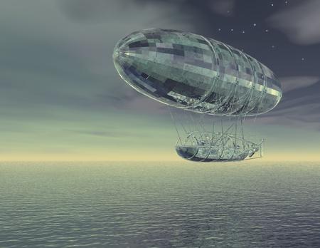 luftschiff: digitale Visualisierung von einem Luftschiff