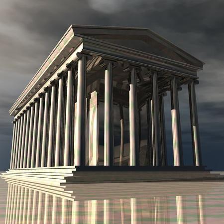 Digital Illustration of a Temple