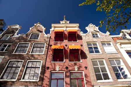 gables: scene in the old town of amsterdam, netherlands