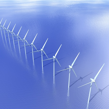 Digital Illustration of an offshore Wind Turbine illustration