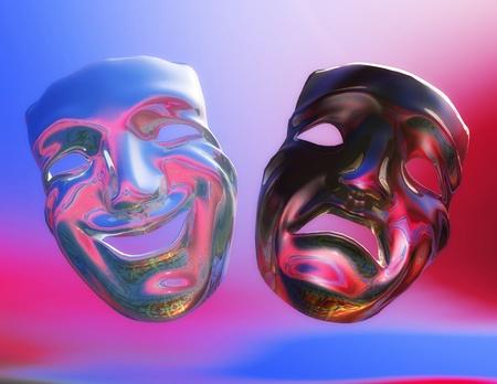 faces happy to sad: Digital Illustration of Theater Masks