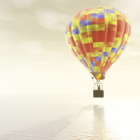 weightless: Digital Illustration of a Hot Air Balloon Stock Photo