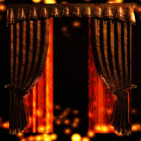 backstage: Digital Illustration of a Curtain Stock Photo