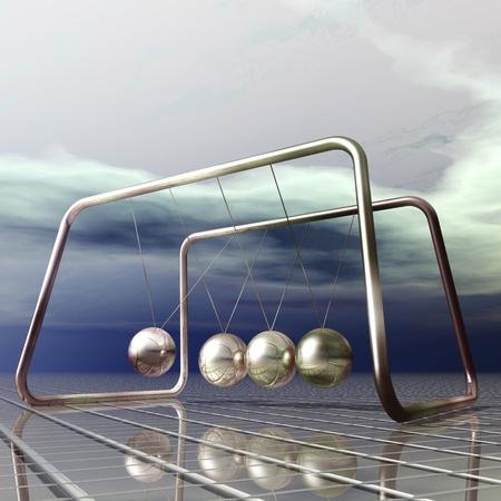 catchy: Digital Illustration of a Newton Pendulum