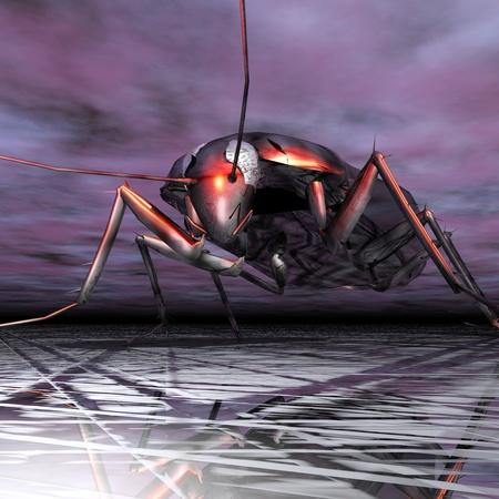 utopian: Digital Illustration of a Cockroach Stock Photo