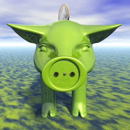 electricity supply: Digital Illustration of a Piggy Bank