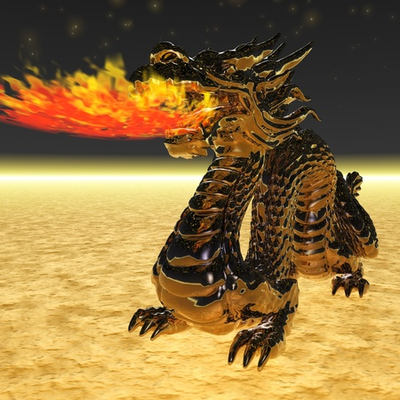 hellish: Digital Illustration of a Dragon