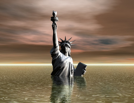crisis economica: Ilustraci�n digital de la estatua de la libertad