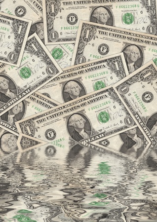 bearish market: Collage of flooded Dollar Bills