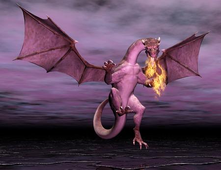 Digital Illustration of a Dragon  Stock Photo