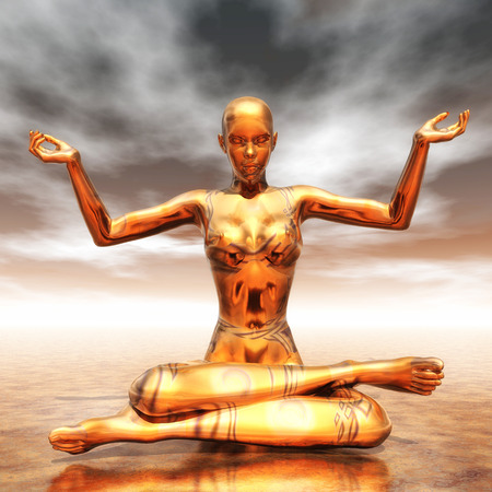 Digital Illustration of a meditating Female Stock Illustration - 22256536