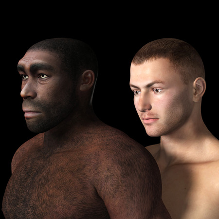 stoneage: Digital Illustration of black and white male. Stock Photo