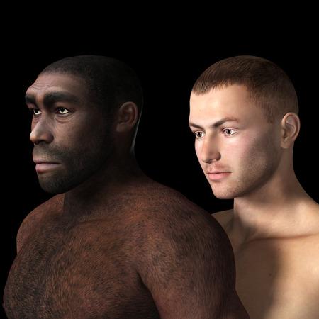 Digital Illustration of black and white male. Standard-Bild