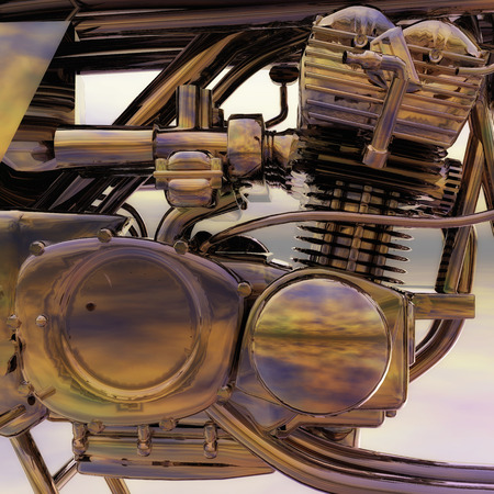motorsport: Digital Illustration of a Bike Engine Stock Photo