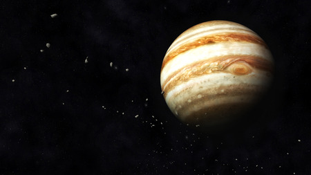 sonne mond und sterne: Digitale Illustration des Planeten Jupiter und Asteroiden