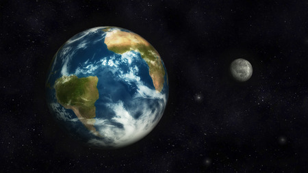 Digital Illustration of Planet Earth and Moon illustration