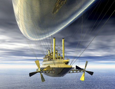 surrealism: digital visualization of a surrealistic steamer airship Stock Photo