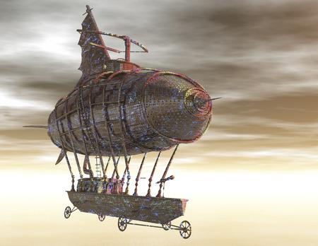 digitale weergave van een surrealistische luchtschip Stockfoto