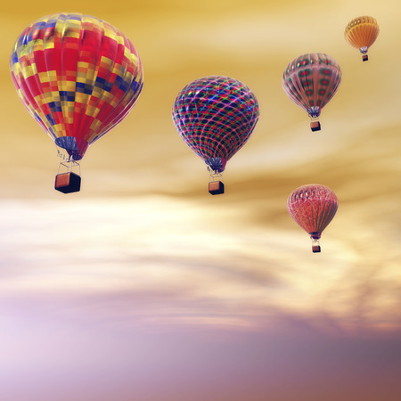 Digital Illustration of Hot Air Balloons 版權商用圖片