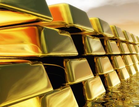 Digital Illustration of Gold Bullions illustration
