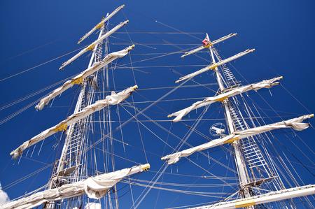 brig ship: Detail of a Sailing Ship Stock Photo
