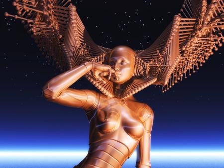 Digital Illustration of a female Cyborg illustration