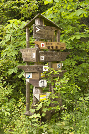 lane marker: On the Hiking Trail Goldsteig in Germany