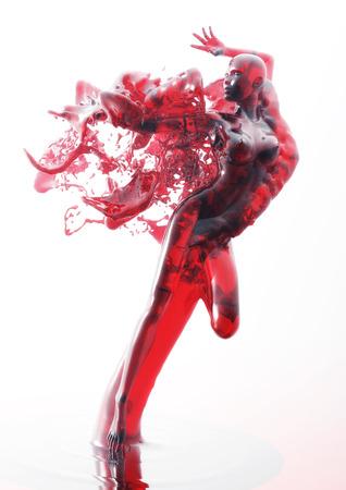 3D Illustration of a liquid Female illustration