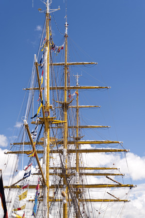 tall ship: Masts of a Tall Ship in Port of Kiel