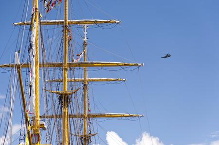 Masts of a Tall Ship in Port of Kiel