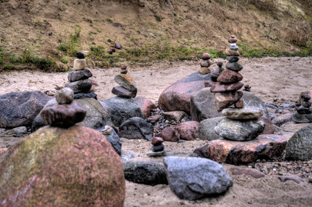 pepples: Balanced Pepples at the Baltic Sea of Germany, HDR Stock Photo