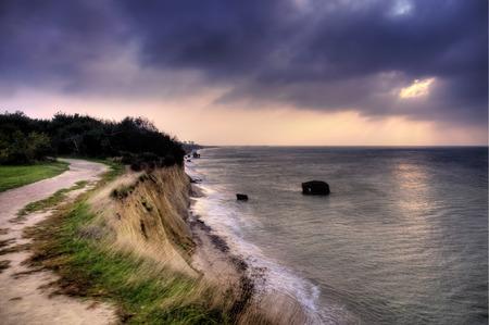 Steep coast of Ahrenshoop in Germany, HDR photo