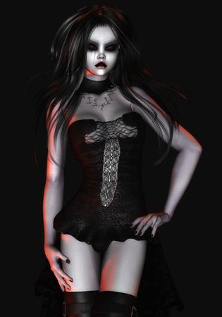 Digital Illustration of a gothic Female