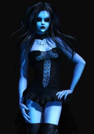 3d vampire: Digital Illustration of a gothic Female