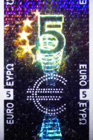 eurozone: Micro Photo of a Hologram on an Euro Bill Stock Photo